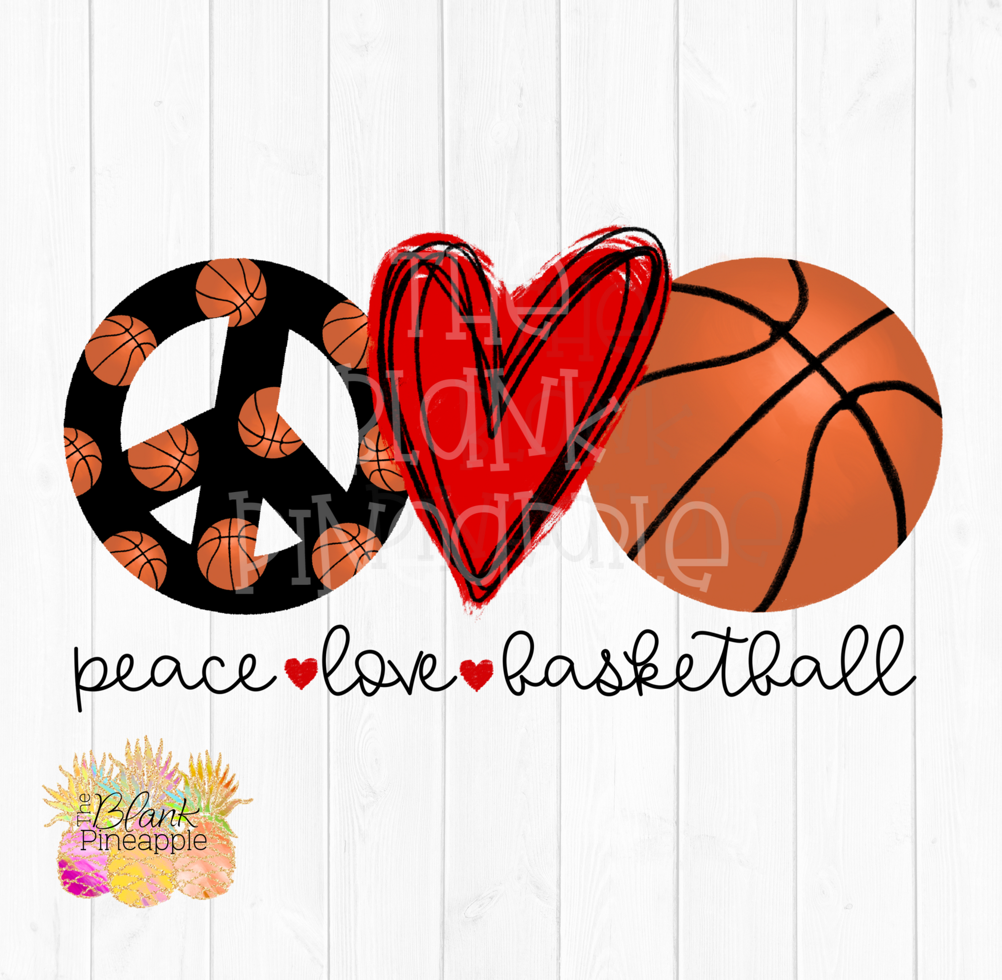 PNG - Peace Love Basketball Sublimation design