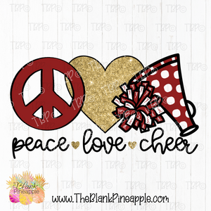 Cheerleader Peace Love Cheer Sublimation Design PNG