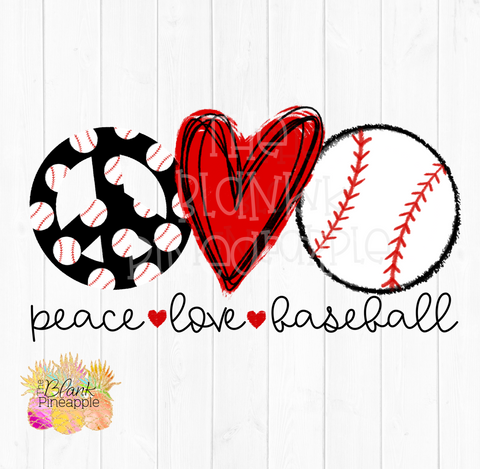PNG - Peace Love Baseball Sublimation design