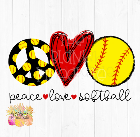 PNG - Peace Love Softball Sublimation design