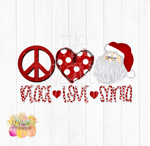 Peace Love Santa Sublimation clipart