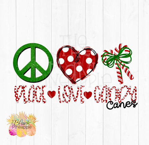 Christmas Peace Love Candy Canes PNG Sublimation clipart