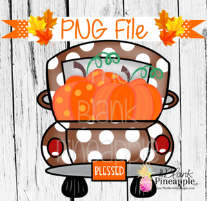 PNG - Pumpkin Truck Brown Polka Dot