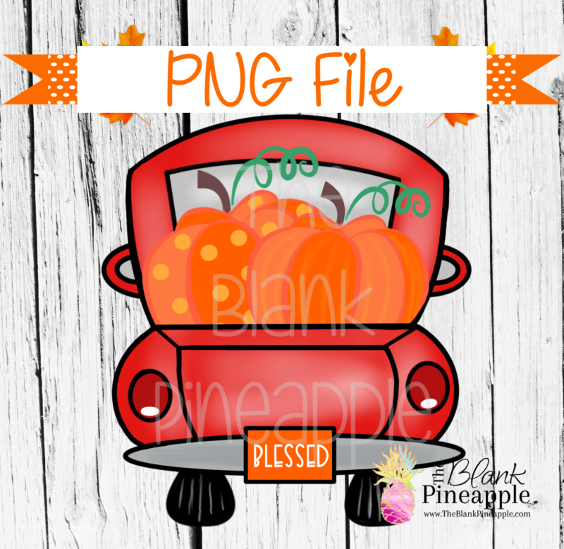 Pumpkin Truck Sublimation PNG 300dpi