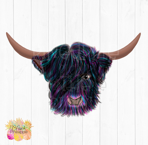 PNG - Rainbow Hairy Highland Cow