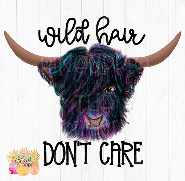 PNG - Rainbow Hairy Highland Wild Hair Don't Care Cow