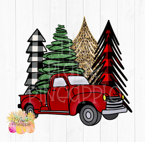Red Christmas Truck with Trees PNG Sublimation clipart