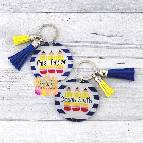 Round Acrylic Monogram Pencil Key Ring