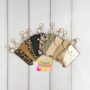 Faux Leather Sanitizer Holder Key Ring