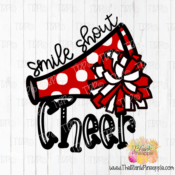 PNG -  Smile Shout Cheer Pom Poms in Red