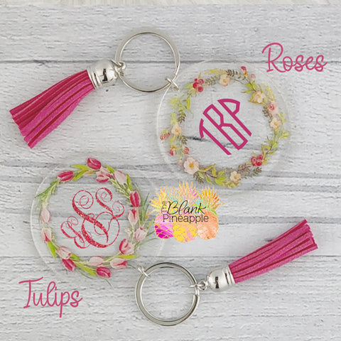 Acrylic Floral Key Ring with Suede Tassel