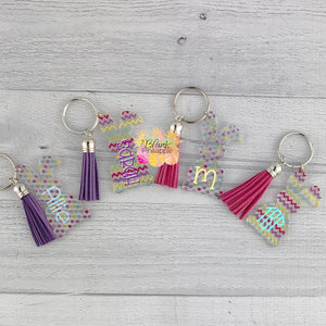 Acrylic Bunny Key Ring with Suede Tassel