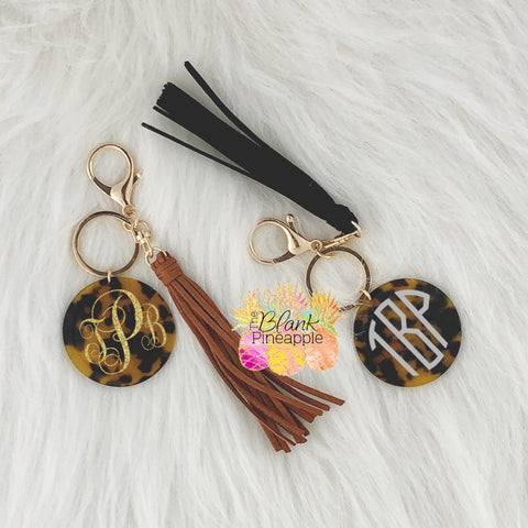 Acrylic Tortoise Disc Key Ring with Tassel