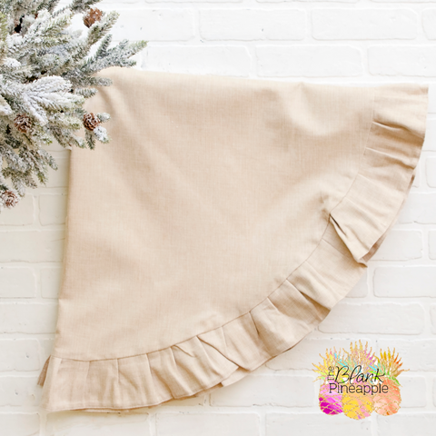 Faux Burlap Pleated Tree Skirt