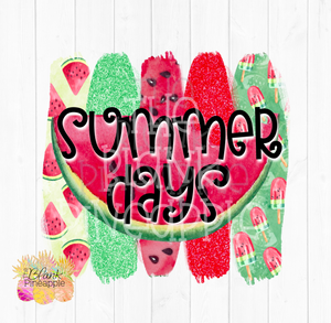 Summer Days Watermelon Glitter and Marquee Sublimation Design Clipart