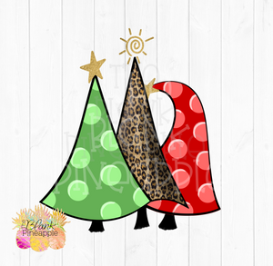 Polka Dot Christmas Trees Sublimation clipart
