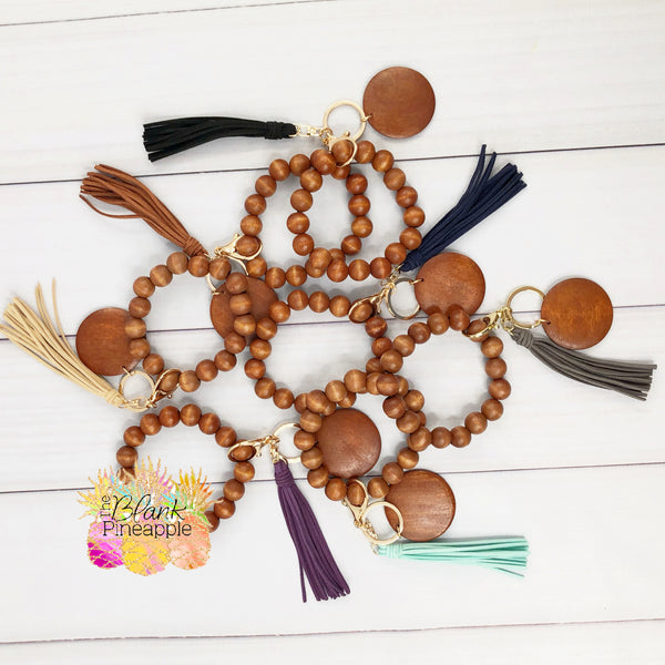 Wood Bead Bracelet Key Ring