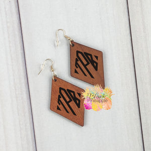 Blank Wood Diamond Shape Earrings