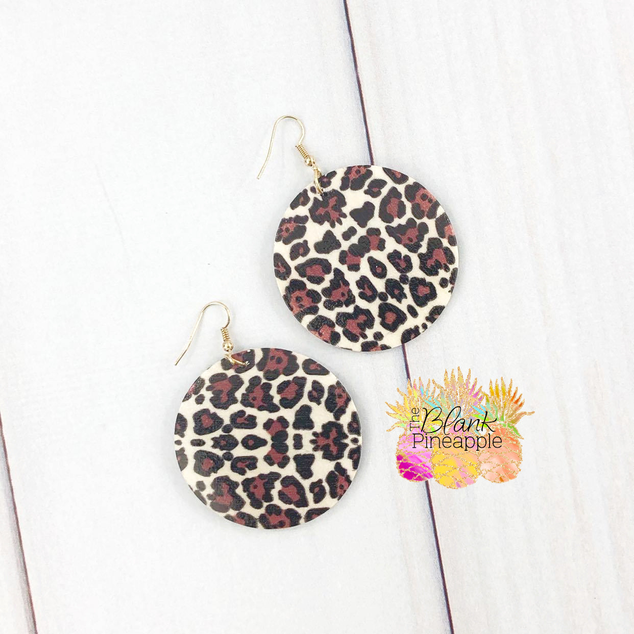 Leopard Wood Disc Earrings