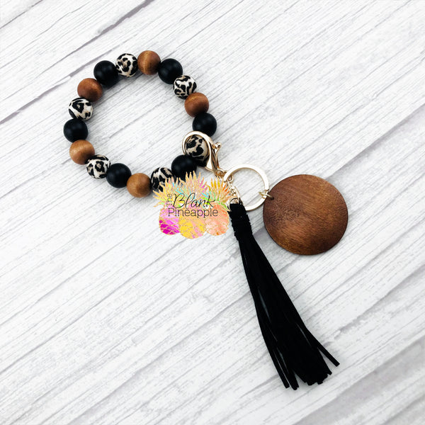 Wood and Leopard Silicone Bead Bracelet Key Ring