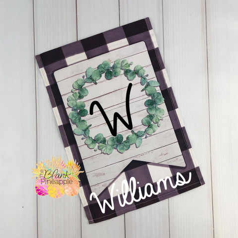 Buffalo Plaid Wreath Garden Flag
