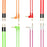 *8 Pack* Auxiliary Cables - 5-Foot - Angled & Flat - Green, Pink, Red & Orange