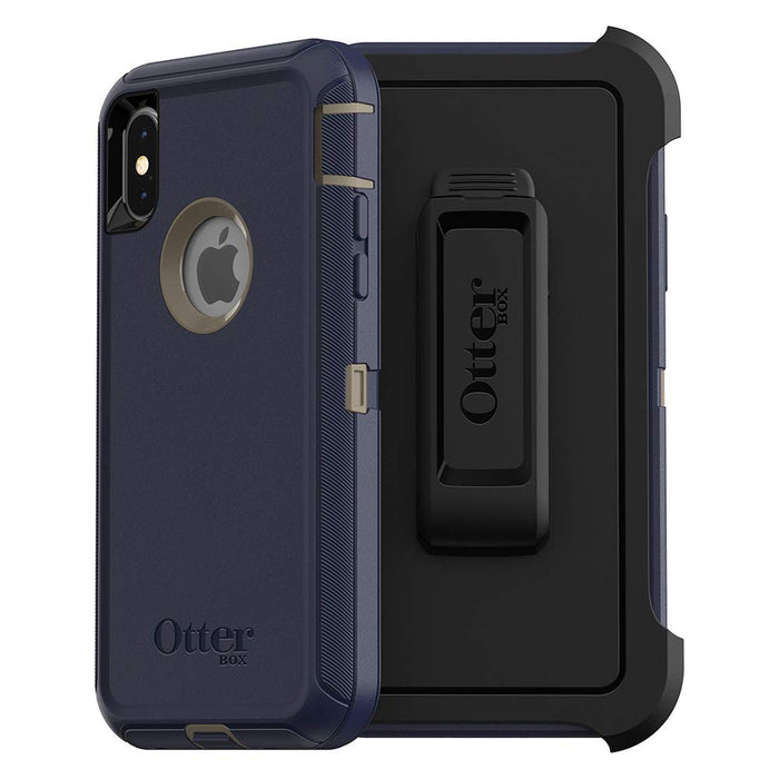 OtterBox DEFENDER SERIES Case & Holster for iPhone X / XS (ONLY) - Dark Lake Blue (Certified Refurbished)