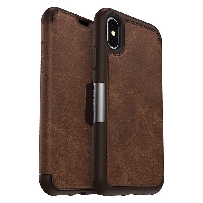 OtterBox STRADA FOLIO SERIES Case for iPhone X / XS (ONLY) - Espresso (Certified Refurbished)