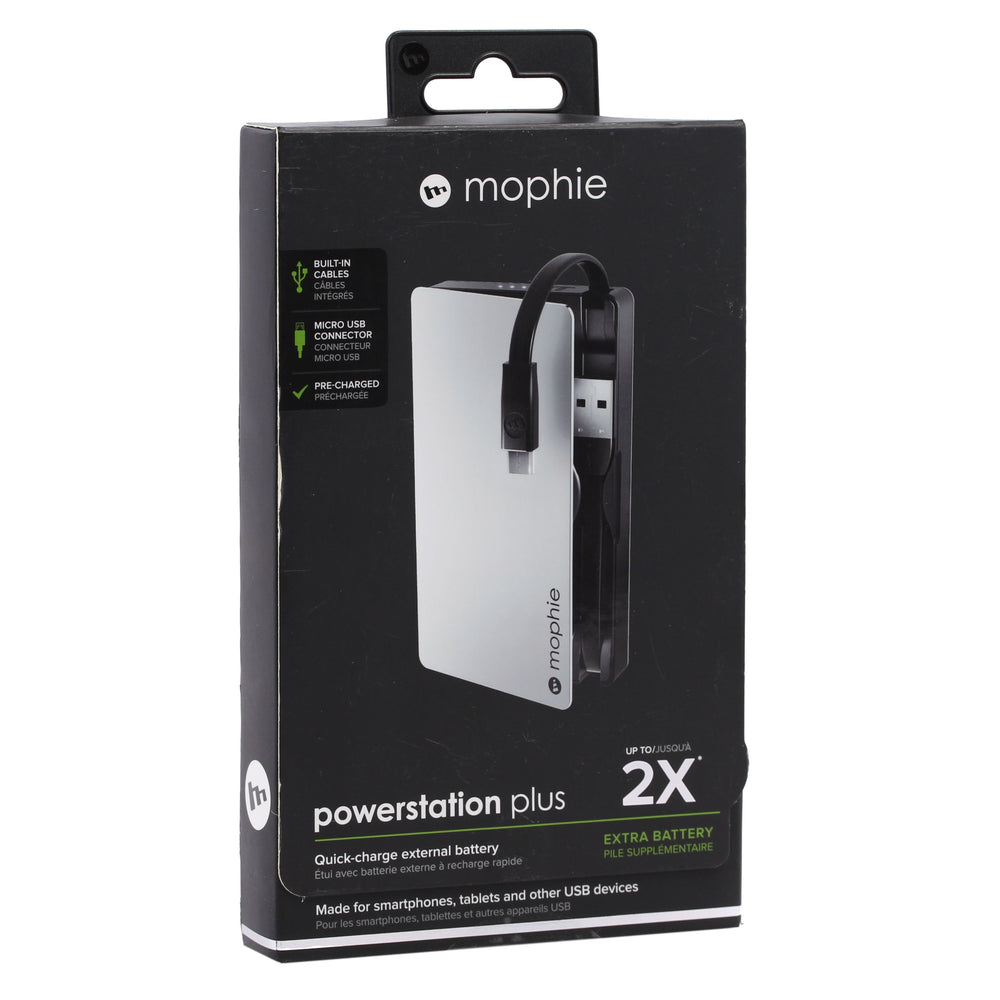 Mophie Powerstation Plus 2x with Micro USB Connector - Silver (Certified Refurbished)