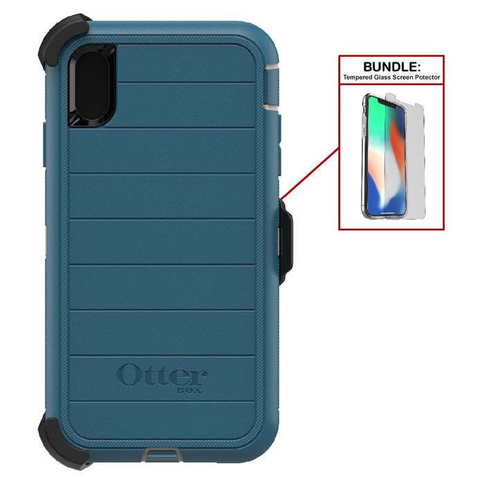 Otterbox Bundle: Heavy Duty Case for Apple iPhone XS Max (ONLY) – Superior Drop Protection - Modern Design + Bonus Tempered Glass Screen Protector (Certified Refurbished)