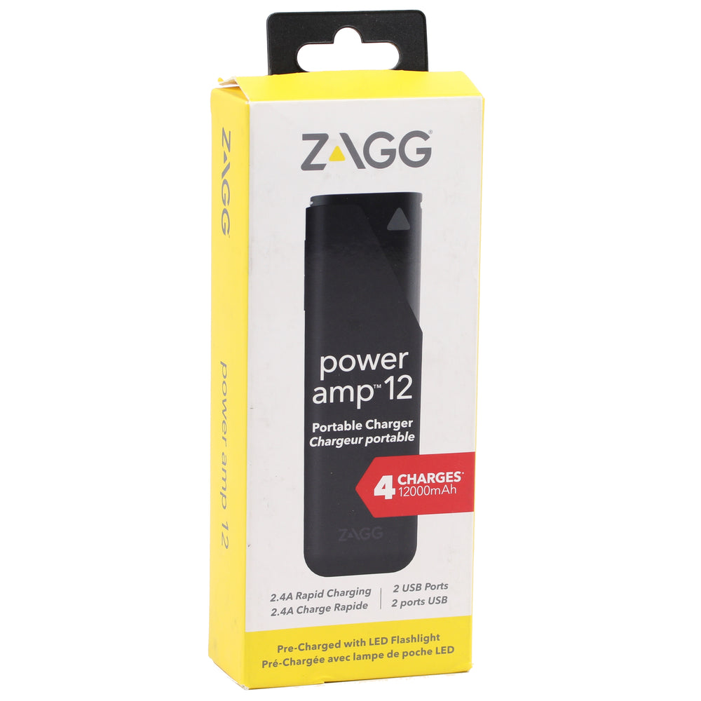 Zagg Power amp 12000mAh Portable Charger - Black (Certified Refurbished)