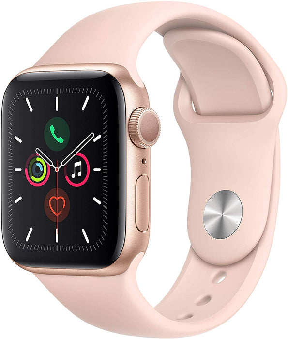 Apple Watch Series 5 GPS w/ 40MM Gold Aluminum Case & Pink Sand Sport Band (Certified Refurbished)