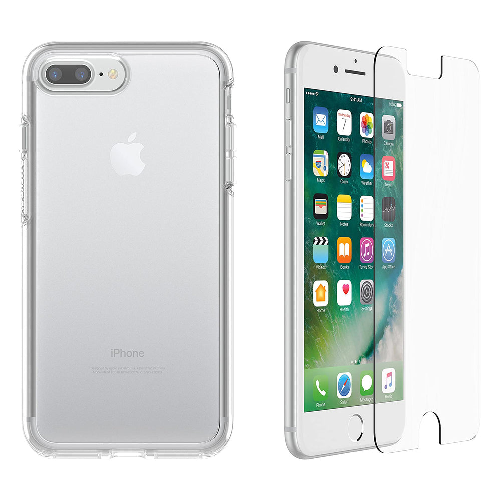 OtterBox SYMMETRY SERIES Case & Alpha Glass Bundle for iPhone 7 Plus / 8 Plus - Clear (Certified Refurbished)