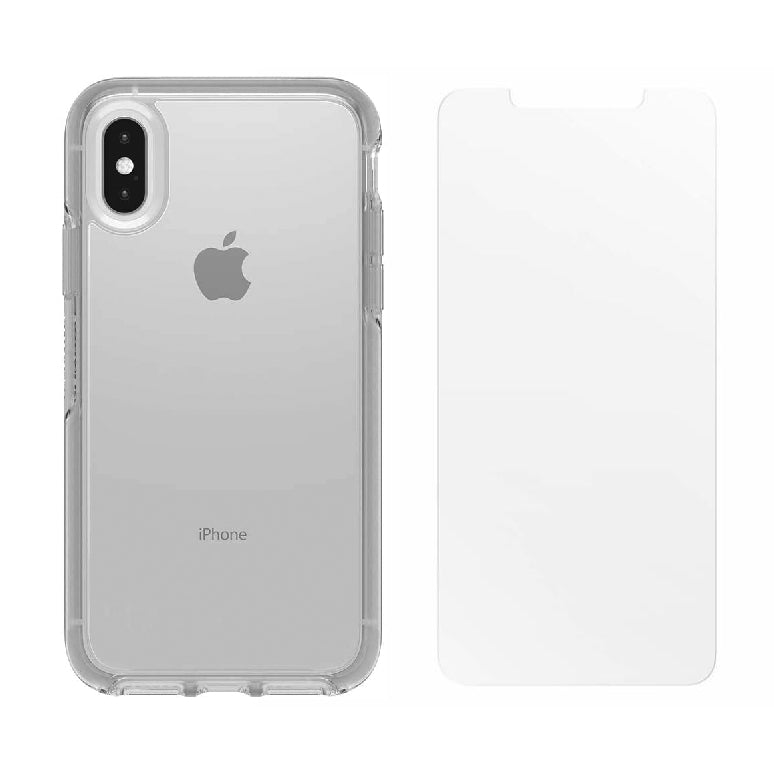 OtterBox SYMMETRY SERIES Case & Alpha Glass Bundle for iPhone X / XS - Clear (Certified Refurbished)