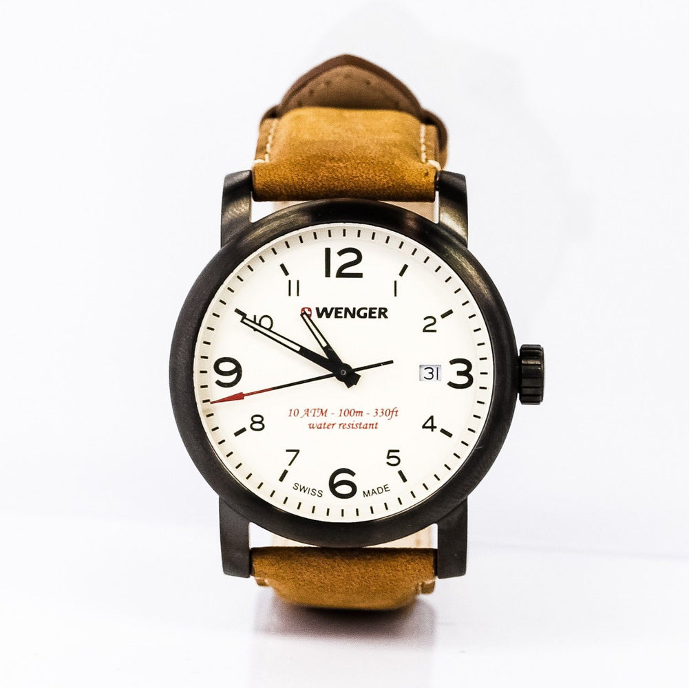 Wenger Men's Urban Metropolitan Swiss Quartz Steel / Leather Watch - Black/Brown
