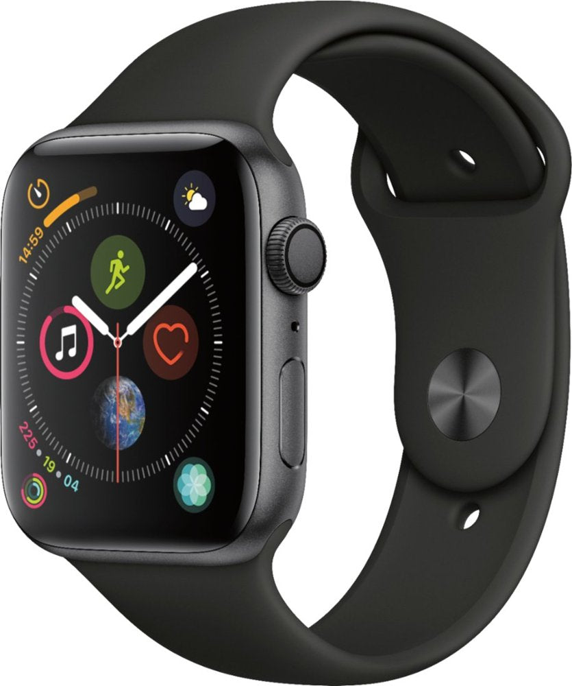 Apple Watch Series 4 GPS w/ 44MM Space Gray Aluminum Case & Black Sport Band (Certified Refurbished)
