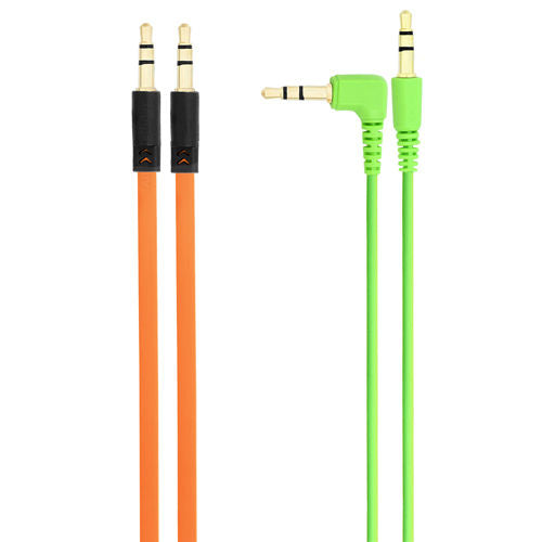 2x Pack 3.5mm Auxiliary Cable, 1 Green Angled & 1 Orange Flat Audio Music Aux US