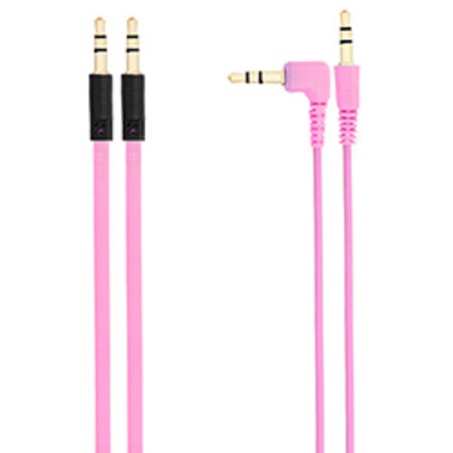 Chromo Inc 1.5m AUX Flat cable + 1.5m cable w/ 1 Angled End - Pink