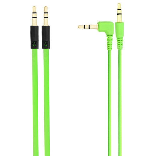 Chromo Inc 1.5m AUX Flat cable + 1.5m cable w/ 1 Angled End - Green