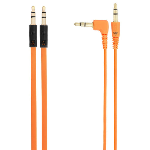 Chromo Inc 1.5m AUX Flat cable + 1.5m cable w/ 1 Angled End - Orange