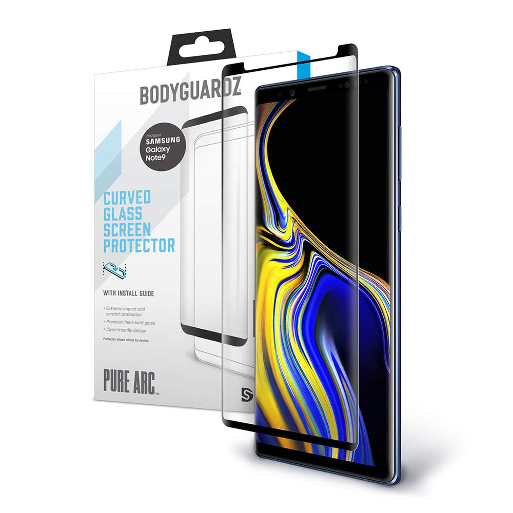 BodyGuardz Pure ARC Samsung Note9 Curved Glass Screen Protector - Black