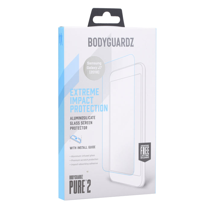 BodyGuardz Pure2 Glass Screen Protector for Samsung J7 (2018) - Clear