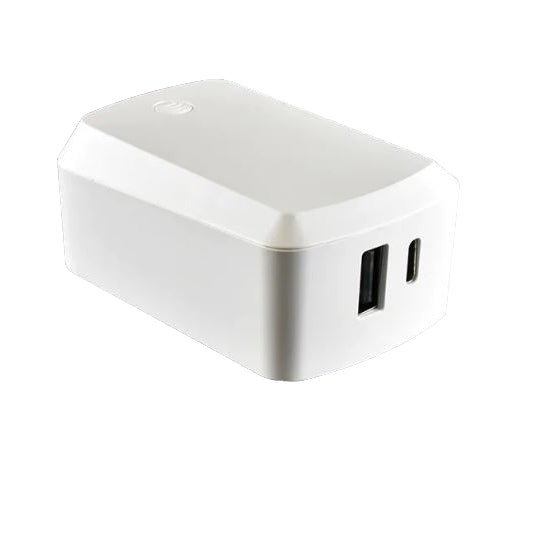 AT&T Dual Port Wall Charger 57W with Type C & A Ports - White