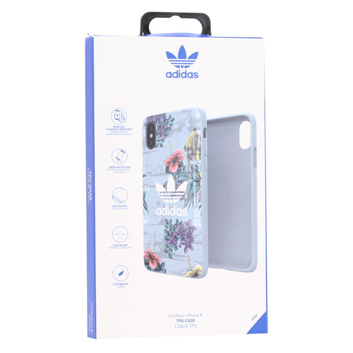 Adidas Ultra-Light TPU Case for iPhone X / XS (ONLY) - Floral Blue