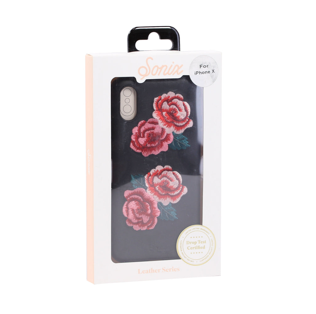 Sonix Leather Series Case for iPhone X / XS (ONLY) - Black/Red Rose Embroidered