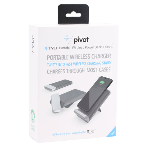 TYLT Pivot Wireless Charging Pad and Stand (10W) - Black / Silver