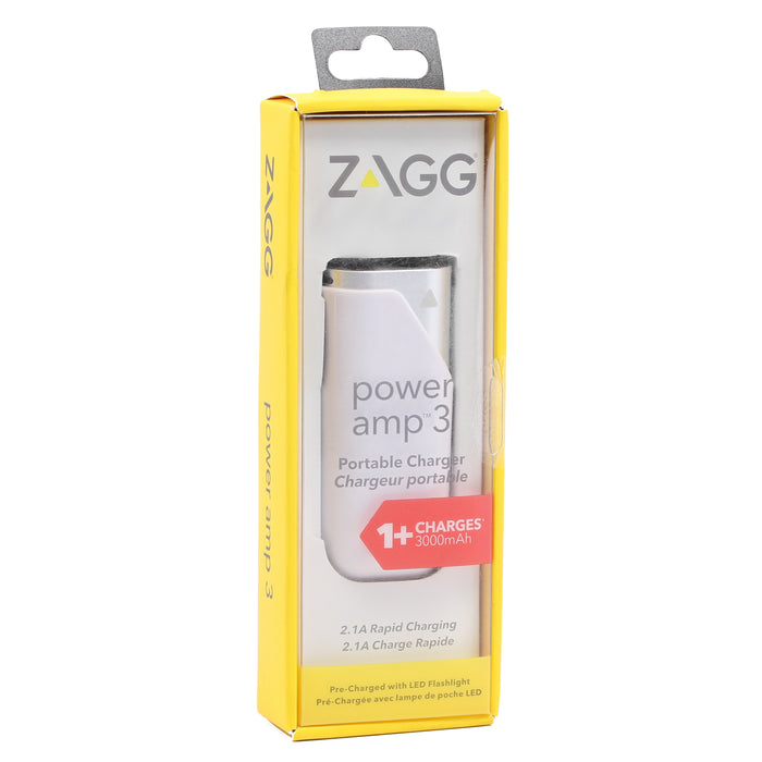 Zagg Power amp 3 Portable Charger, 3000mAh - Silver (Certified Refurbished)