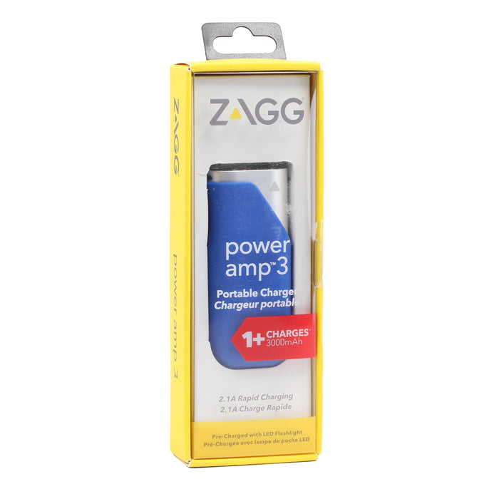 Zagg Power amp 3 Wireless Portable Charger, 3000mAh - Blue (Refurbished)