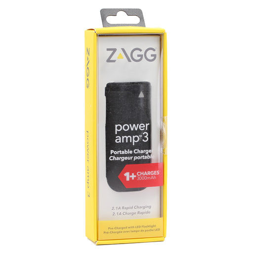 Zagg Power amp 3 Portable Charger (3000mAh) - Black