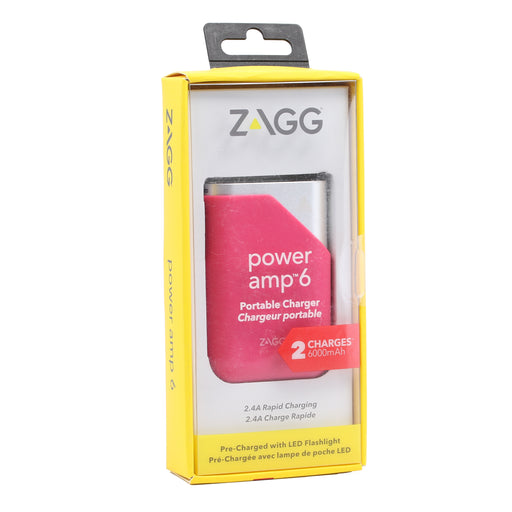 Zagg Power amp 6 Portable Charger (6000mAh) - Pink